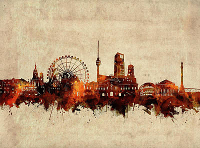 Abstract Skyline Royalty-Free and Rights-Managed Images - Stuttgart Skyline Sepia by Bekim M