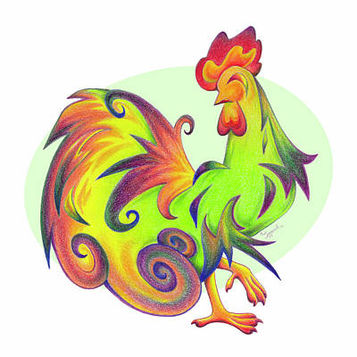 Drawing - Stylized Rooster I by Sipporah Art and Illustration