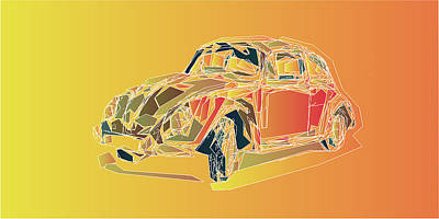 Mixed Media Royalty Free Images - Stylized Vw Beetle Royalty-Free Image by David Ridley