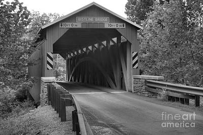 Photograph - Summer Afternoon At The Bistline Covered Bridge Black And White by Adam Jewell