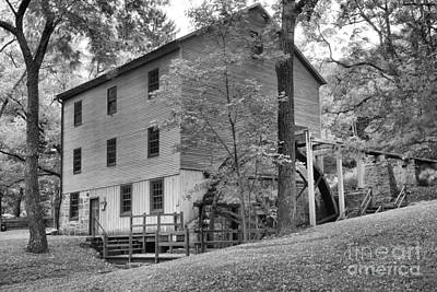Photograph - Summer At Shoaff's Grist Mill Black And White by Adam Jewell