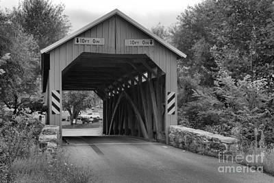 Photograph - Summer At The Saville Covered Bridge Black And White by Adam Jewell