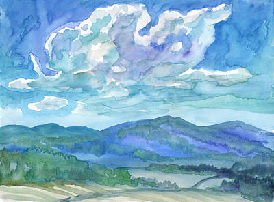 Painting - Summer Clouds Landscape  by Dobrotsvet Art