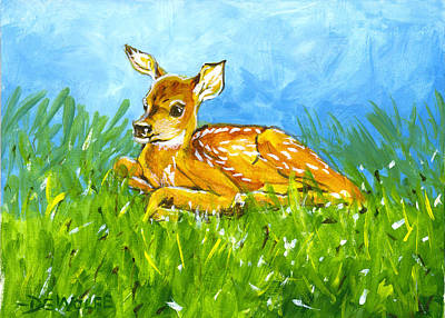 Painting - Summer Fawn Sketch by Richard De Wolfe