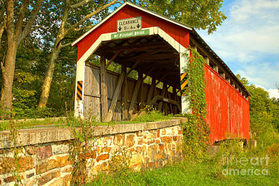 Photograph - Summer Greens At The Mt. Pleasant Covered Bridge by Adam Jewell