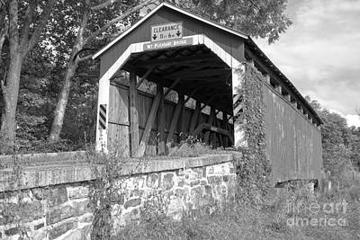 Photograph - Summer Greens At The Mt. Pleasant Covered Bridge Black And White by Adam Jewell