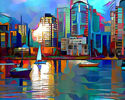 Digital Art - Summer In The City by Pennie McCracken