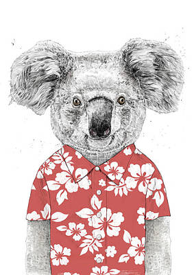 Koala Wall Art - Drawing - Summer Koala by Balazs Solti