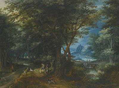 Painting - Summer Landscape With A Lady And Gentleman Seated And Sportsmen Returning With Game by Denis van Alsloot