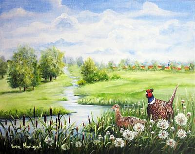 Animals Paintings - Summer Meadows And Pheasants by Vesna Martinjak