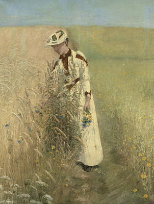 Painting - Summer. Mrs. Johanne Wilde Picks Flowers by Laurits Andersen Ring
