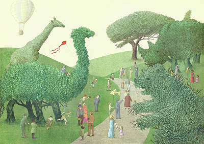 Green Drawing - Summer Park by Eric Fan
