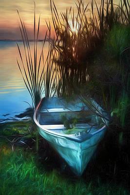 Photograph - Summer Rowboat Watercolor Painting by Debra and Dave Vanderlaan