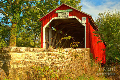 Photograph - Summer Skies Over The New Germantown Covered Bridge by Adam Jewell