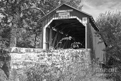 Photograph - Summer Skies Over The New Germantown Covered Bridge Black And White by Adam Jewell
