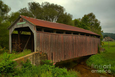 Photograph - Summer Storms Over The Kochenderfer Covered Bridge by Adam Jewell