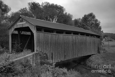 Photograph - Summer Storms Over The Kochenderfer Covered Bridge Black And White by Adam Jewell