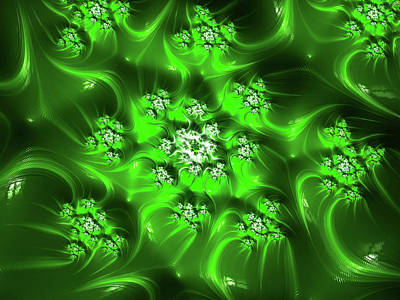 Digital Art - Sumptuously Green Mandalbrot Abstract by Georgiana Romanovna