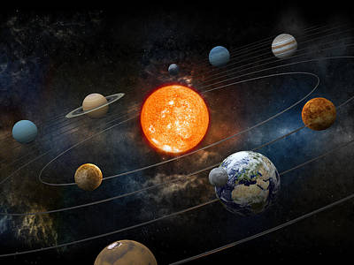 Photograph - Sun And Nine Planets Orbiting by Adventtr
