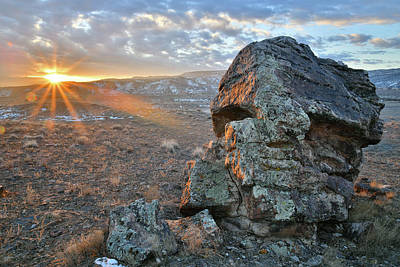 Photograph - Sun Beams Onto Boulder On Ruby Mountain by Ray Mathis