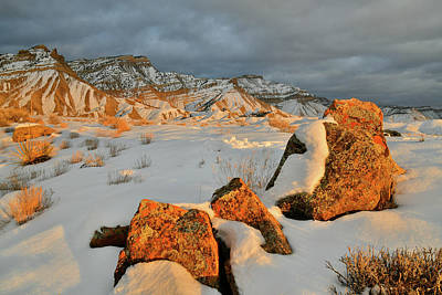 Photograph - Sun Breaks Through At End Of Day In Book Cliffs by Ray Mathis