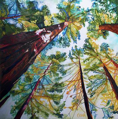 Painting - Sun-Dappled Sequoias by Cedar Lee