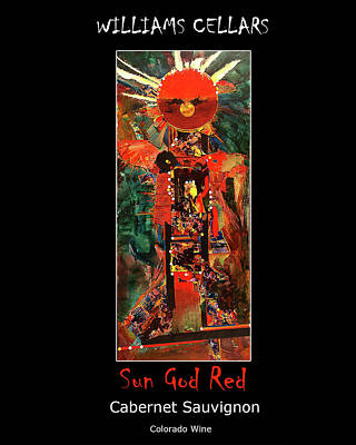Painting - Sun God Red Wine Label by Williams Cellars