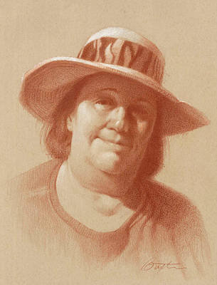 Colored Pencil Portrait Drawing - Sun Hat by Todd Baxter