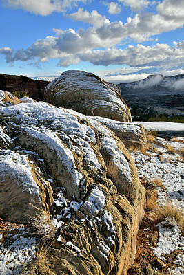 Photograph - Sun Light Snow Covered Boulders In Colorado National Monument by Ray Mathis