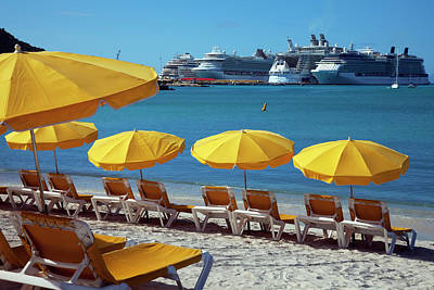 Antilles Photograph - Sun Loungers And Sunshades On The Beach by Onfilm