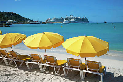Antilles Photograph - Sun Loungers On Beach With Cruise Ship by Onfilm