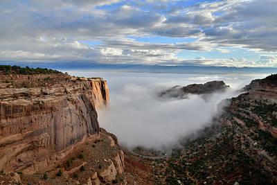 Photograph - Sun Peaks Through Morning Fog At Fruita Canyon by Ray Mathis