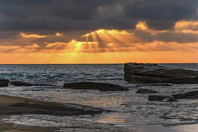 Photograph - Sun Rays Bursting Through - Sunrise Seascape by Merrillie Redden
