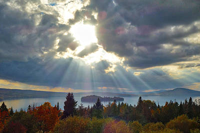 Sun Rays Over Rangeley Lake Art Print