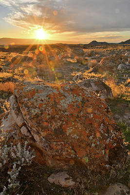 Photograph - Sun Sets On Book Cliffs Boulders by Ray Mathis