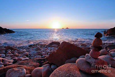 Photograph - Sun Setting At Porth Nanven by Terri Waters