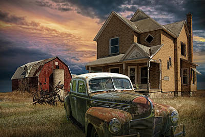 Photograph - Sun Setting On An Abandoned Small Farm With Old Automobile by Randall Nyhof