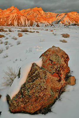 Photograph - Sun Setting On Snow Covered Book Cliffs by Ray Mathis