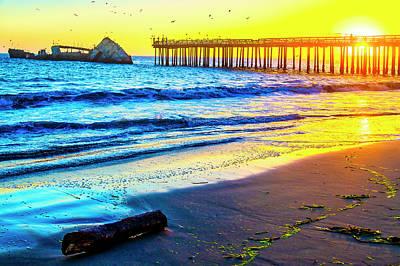 Photograph - Sun Setting Through Pier by Garry Gay