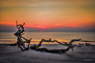 Photograph - Sun Up Driftwood Beach Sunrise Jekyll Island Georgia Art by Reid Callaway
