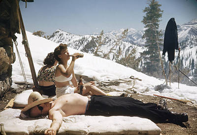 Drinking Photograph - Sun Valley Snow by George Silk