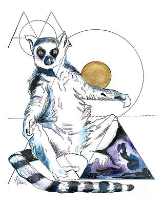 Painting - Sun Worship Ring Tailed Lemur by D Renee Wilson