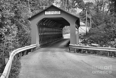 Photograph - Sunderland Road Covered Bridge Black And White by Adam Jewell