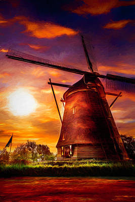 Photograph - Sundown Over Holland Painting by Debra and Dave Vanderlaan