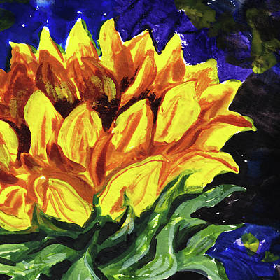 Painting - Sunflower Art Floral Impressionism  by Irina Sztukowski