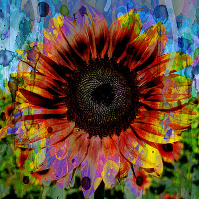 Painting - Sunflower Deep Rich Color 48x48 Watercolor by Robert R Splashy Art Abstract Paintings