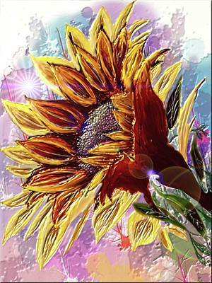 Digital Art - Sunflower In The Sun by Darren Cannell