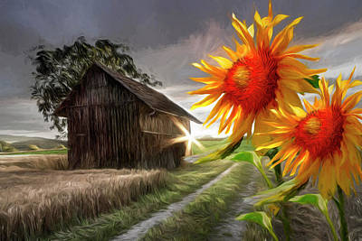 Photograph - Sunflower Watch Painting by Debra and Dave Vanderlaan