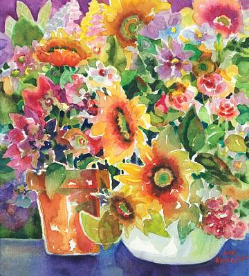 Painting - Sunflowers And Tea Roses by Ann Nicholson