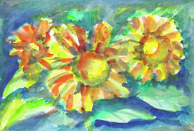 Painting - Sunflowers At Dusk by Irina Dobrotsvet